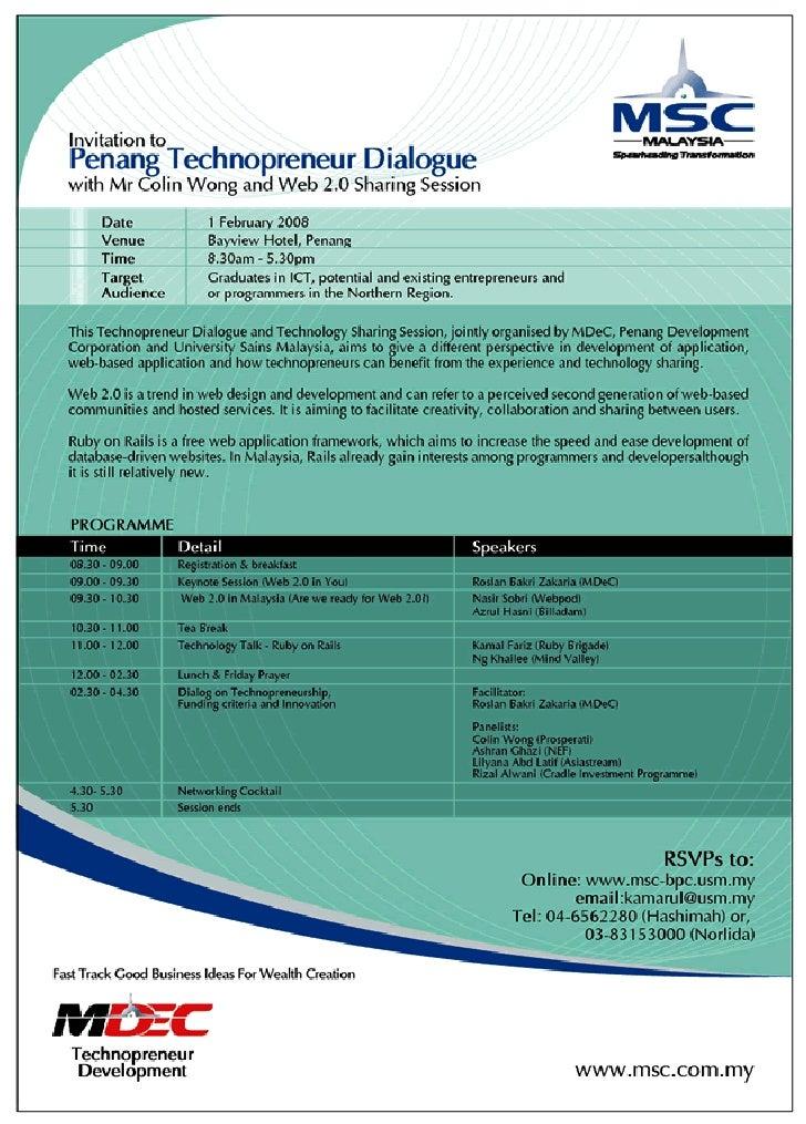 Penang Technopreneur Dialogue & Web 2.0 Sharing Session (1feb08)