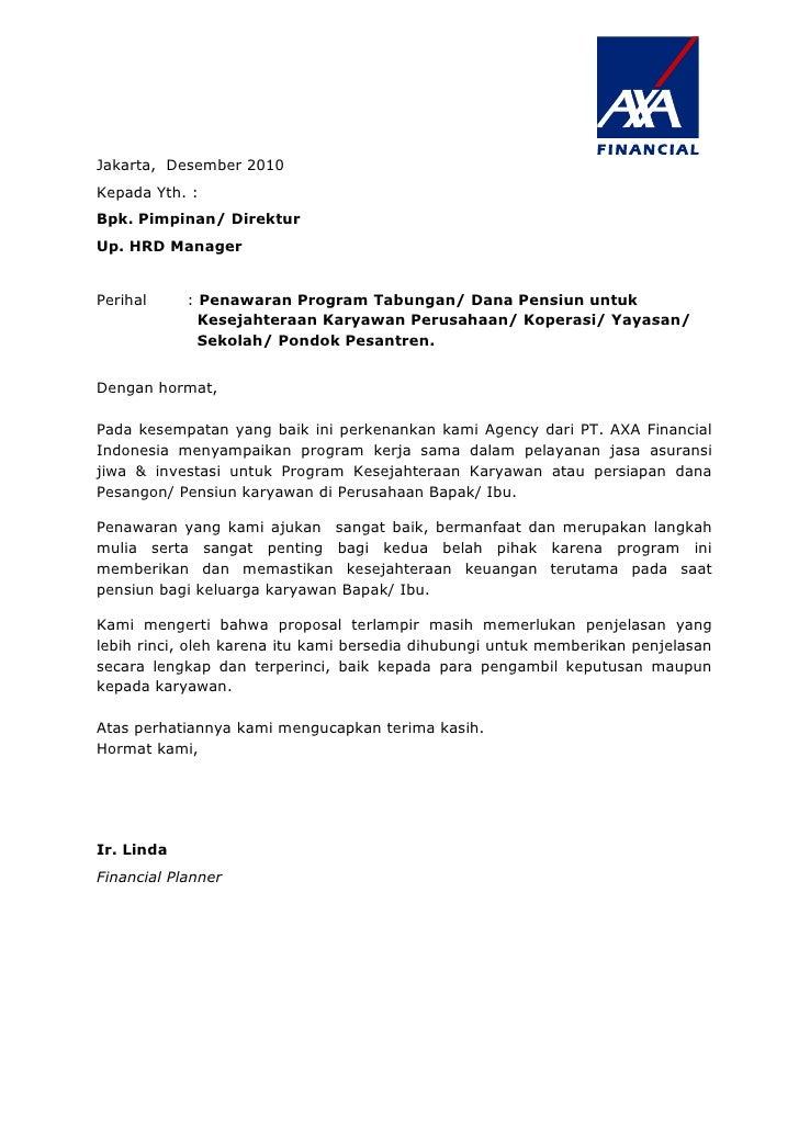 Jakarta, Desember 2010Kepada Yth. :Bpk. Pimpinan/ DirekturUp. HRD ManagerPerihal     : Penawaran Program Tabungan/ Dana Pe...