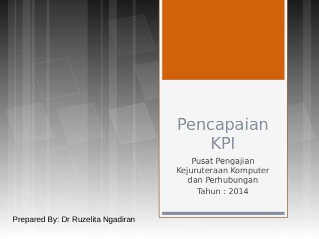 Pencapaian KPI Pusat Pengajian Kejuruteraan Komputer dan Perhubungan Tahun : 2014 Prepared By: Dr Ruzelita Ngadiran