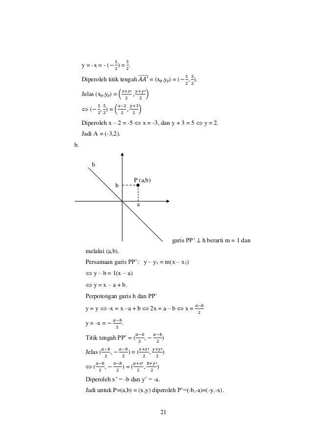 21 y = -x = - (− 5 2 ) = 5 2 . Diperoleh titik tengah 𝐴𝐴′̅̅̅̅̅ = (xp,yp) = (− 5 2 , 5 2 ). Jelas (xp,yp) = ( 𝑥+𝑥′ 2 , 𝑦+𝑦′...