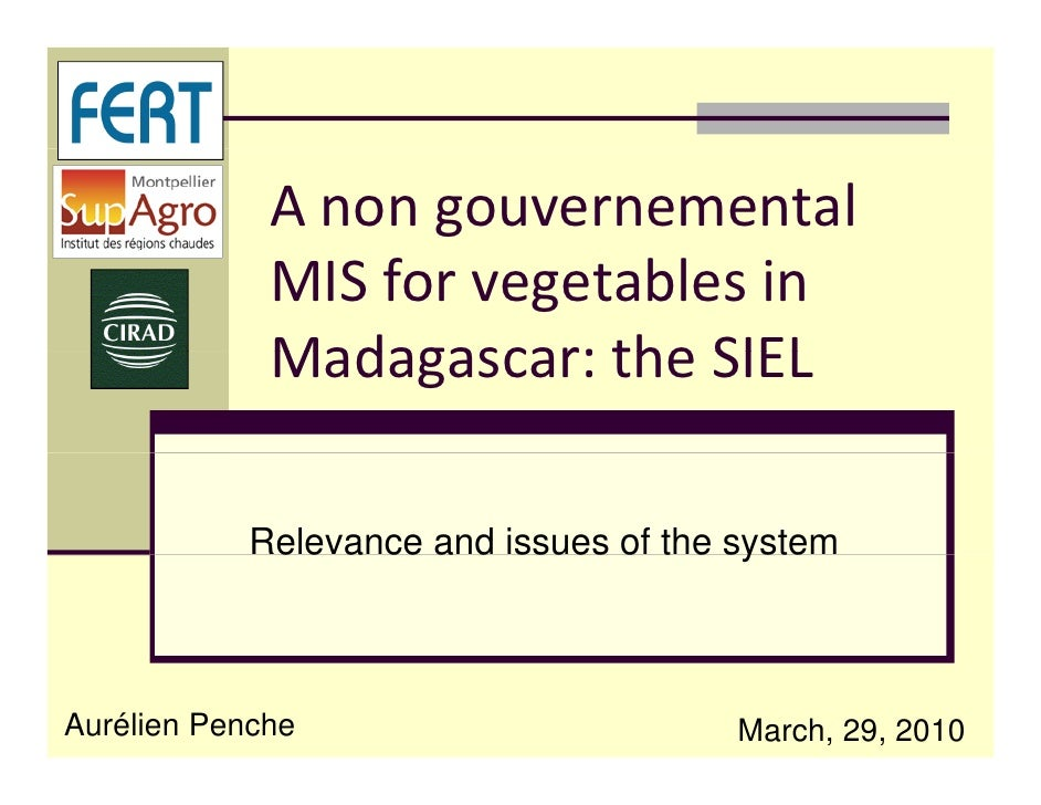 A non gouvernemental               MIS for vegetables in               Madagascar: the SIEL              Madagascar: the S...