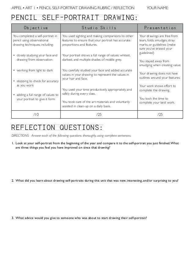 APPEL • ART 1 • PENCIL SELF-PORTRAIT DRAWING RUBRIC / REFLECTION  YOUR NAME:  PENCIL`SELF-PORTRAIT`DRAWING: Objective  Stu...