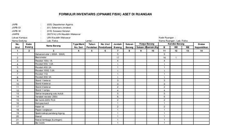 FORMULIR INVENTARIS (OPNAME FISIK) ASET DI RUANGANJAPB                    :         (025) Departemen AgamaJAPB-E1         ...
