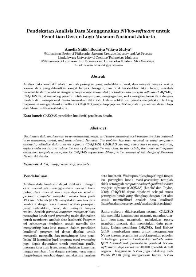 1Pendekatan Analisis Data Menggunakan NVivo-software untukPenelitian Desain Logo Museum Nasional JakartaAmelia Sidik1, Bod...