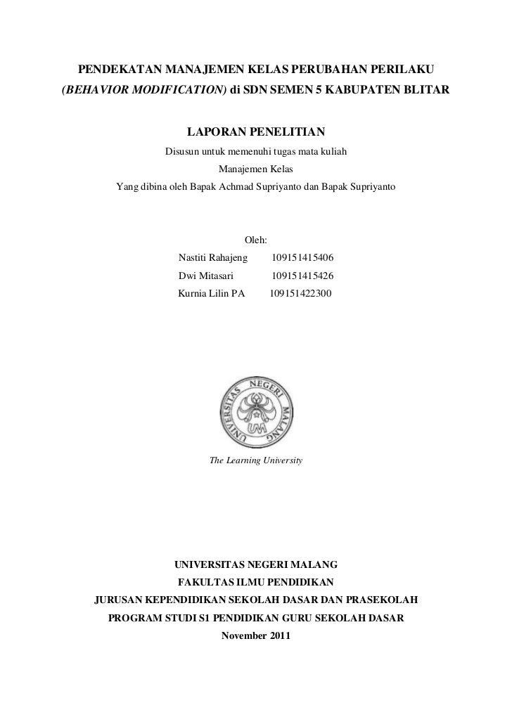 PENDEKATAN MANAJEMEN KELAS PERUBAHAN PERILAKU(BEHAVIOR MODIFICATION) di SDN SEMEN 5 KABUPATEN BLITAR                      ...