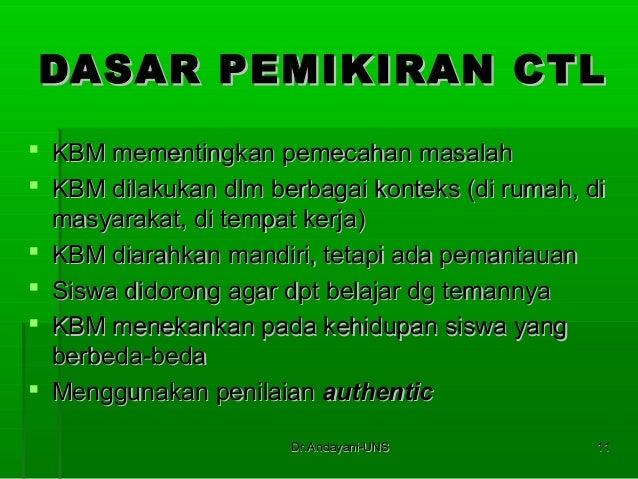Dr.Andayani-UNSDr.Andayani-UNS 1111 DASAR PEMIKIRAN CTLDASAR PEMIKIRAN CTL  KBM mementingkan pemecahan masalahKBM mementi...