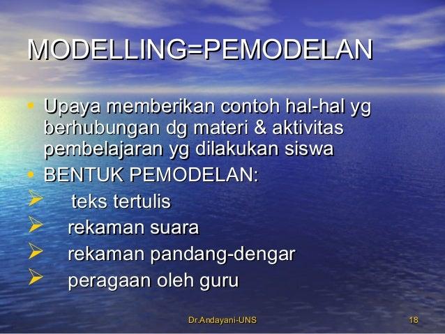 Dr.Andayani-UNSDr.Andayani-UNS 1818 MODELLING=PEMODELANMODELLING=PEMODELAN • Upaya memberikan contoh hal-hal ygUpaya membe...