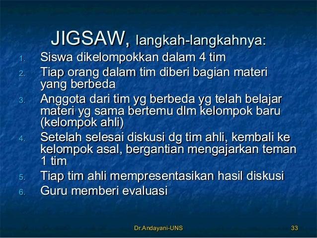 Dr.Andayani-UNSDr.Andayani-UNS 3333 JIGSAW,JIGSAW, langkah-langkahnya:langkah-langkahnya: 1.1. Siswa dikelompokkan dalam 4...