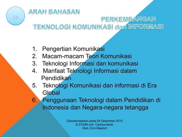 1. Pengertian Komunikasi 2. Macam-macam Teori Komunikasi 3. Teknologi Informasi dan komunikasi 4. Manfaat Teknologi Inform...