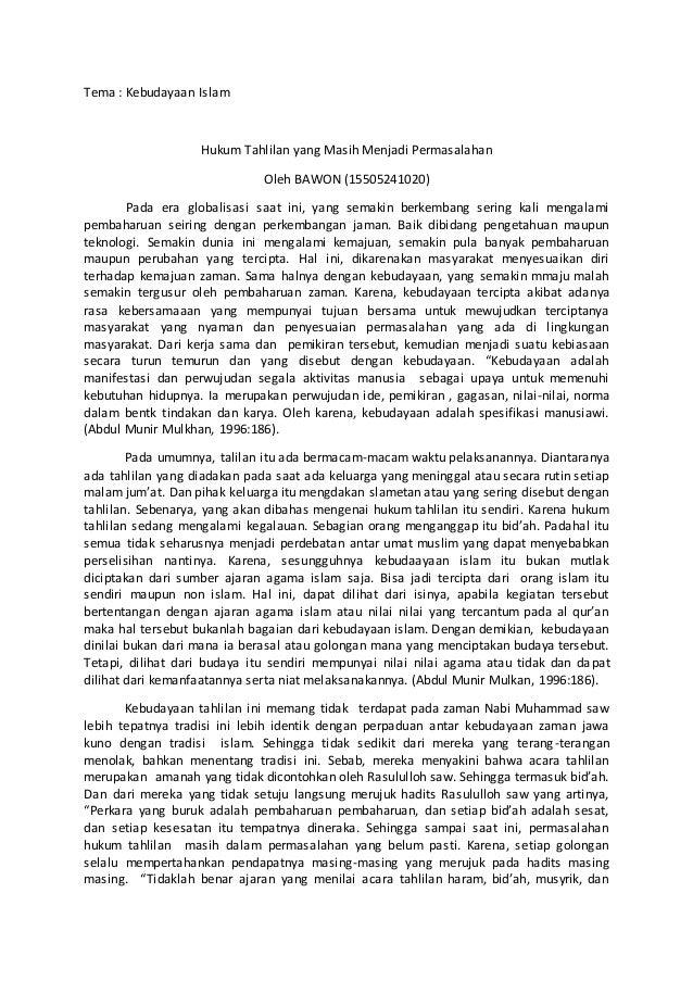 Artikel Pendidikan Agama Islam Kebudayaan Islam Tahlilan