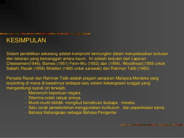 barnes fenn wu razak rahman reports malaysia Iaitu latar belakang pendidikan bahasa melayu di malaysia laporan fenn-wu, laporan razak, laporan rahman barnes, fenn-wu, laporan razak.