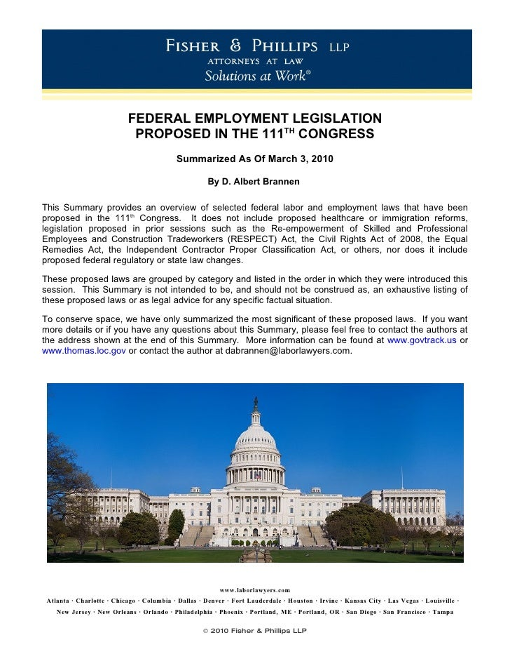 FEDERAL EMPLOYMENT LEGISLATION                             PROPOSED IN THE 111TH CONGRESS                                 ...