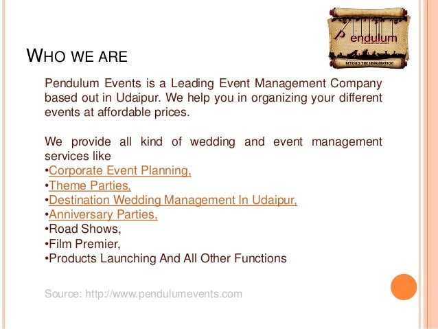 Event Management and Wedding Planner Company in UdaipurIndia Pendul