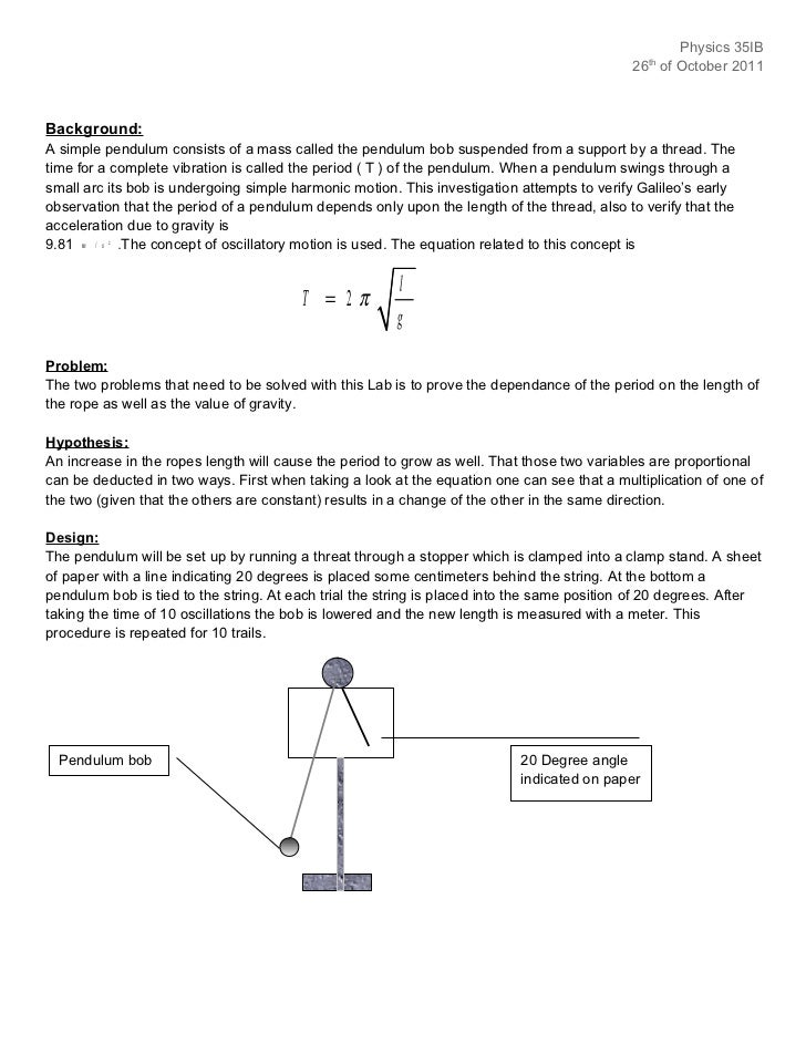 acceleration due to gravity using a simple pendulum lab report