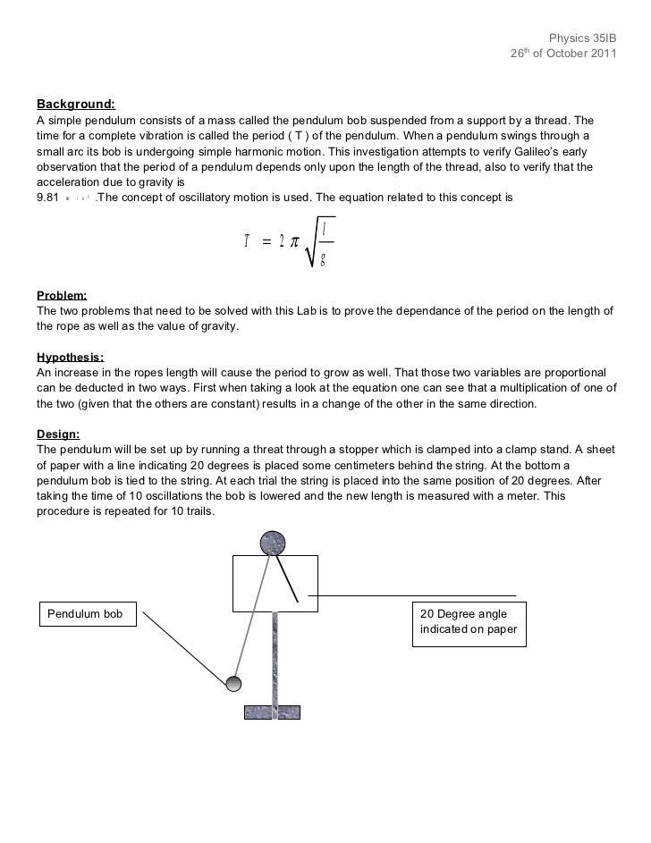 a level physics pendulum experiment
