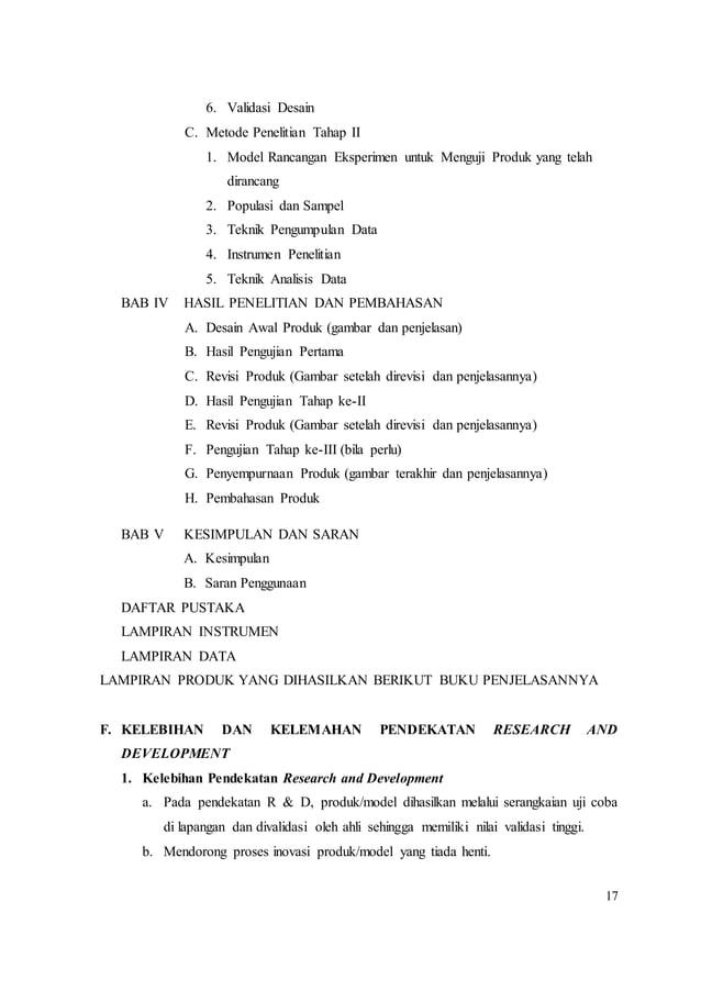 17 6. Validasi Desain C. Metode Penelitian Tahap II 1. Model Rancangan Eksperimen untuk Menguji Produk yang telah dirancan...