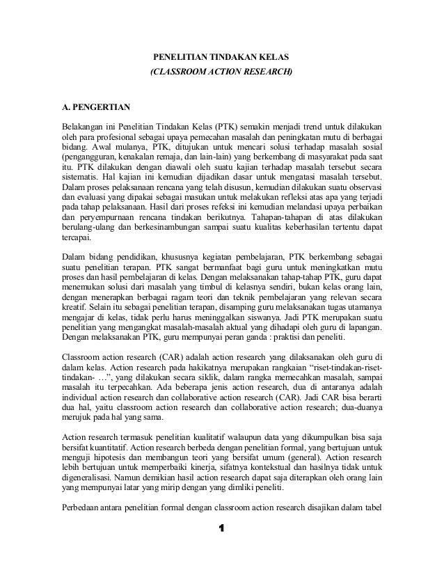 Penelitian Tindakan Kelas Ptk Contoh Karya Tulis Ilmiah Kti
