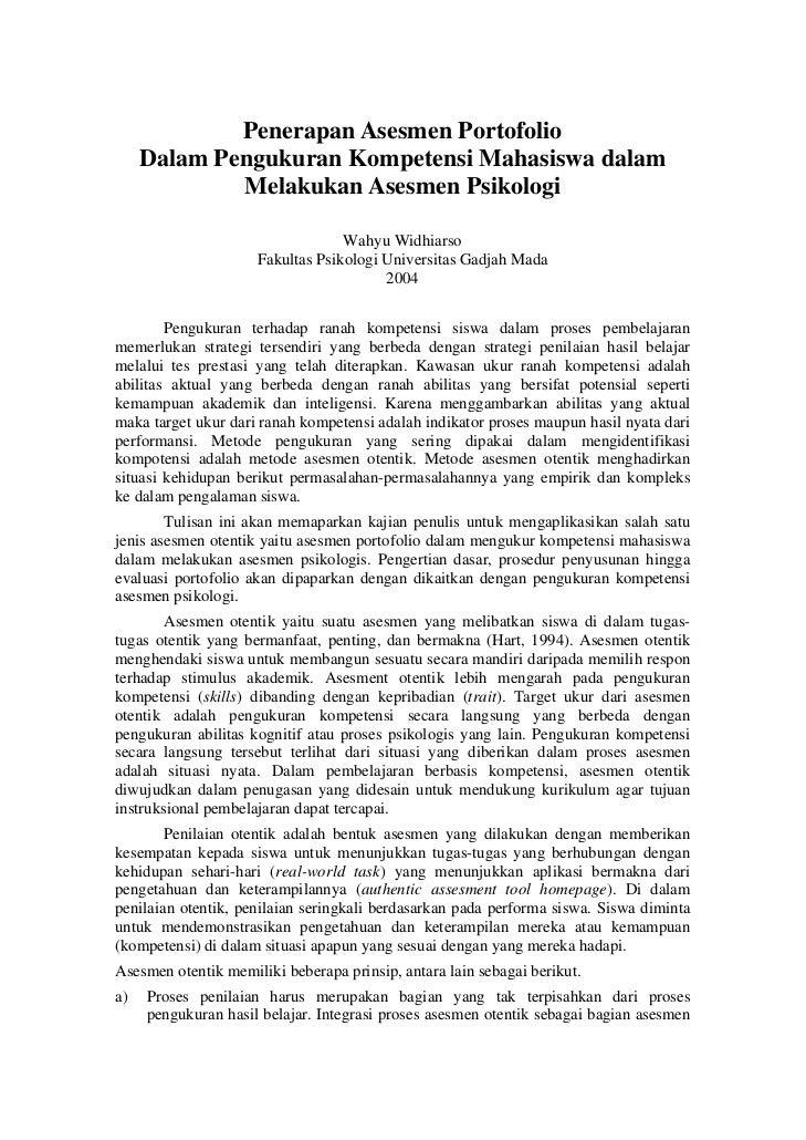 Penerapan Asesmen Portofolio     Dalam Pengukuran Kompetensi Mahasiswa dalam             Melakukan Asesmen Psikologi      ...