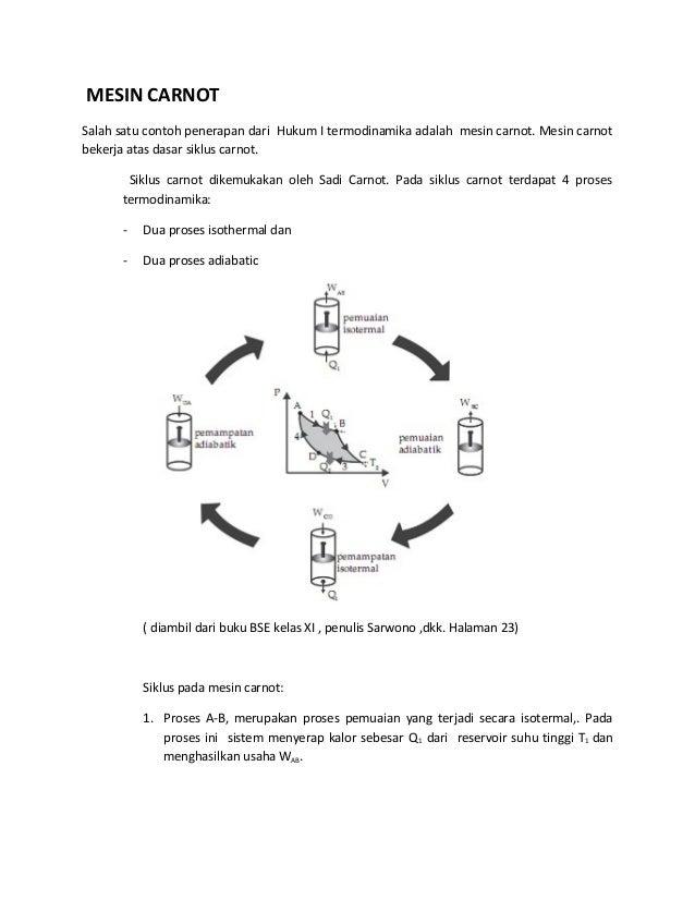 Penerapan hukum i termodinamika mesin carnot salah satu contoh penerapan dari hukum i termodinamika adalah mesin carnot ccuart Choice Image