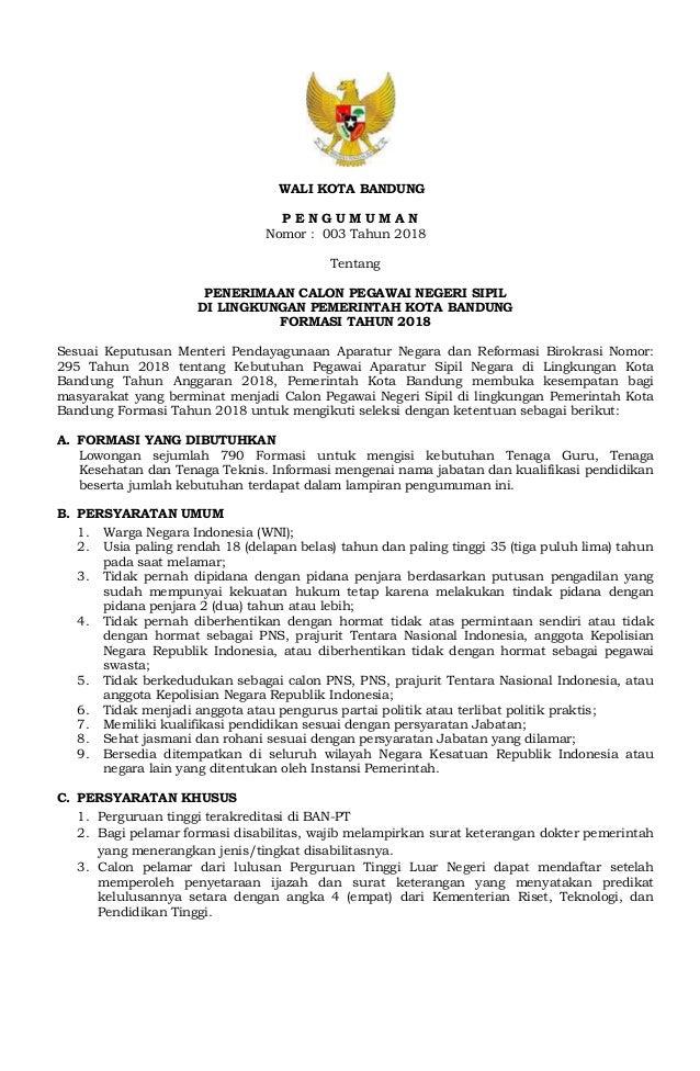 Formasi Cpns Kota Bandung 2018