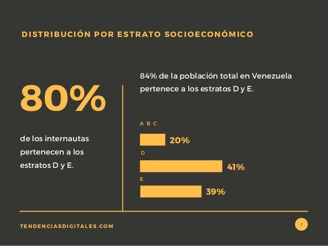 de los internautas pertenecen a los estratos D y E. 84% de la población total en Venezuela pertenece a los estratos D y E....