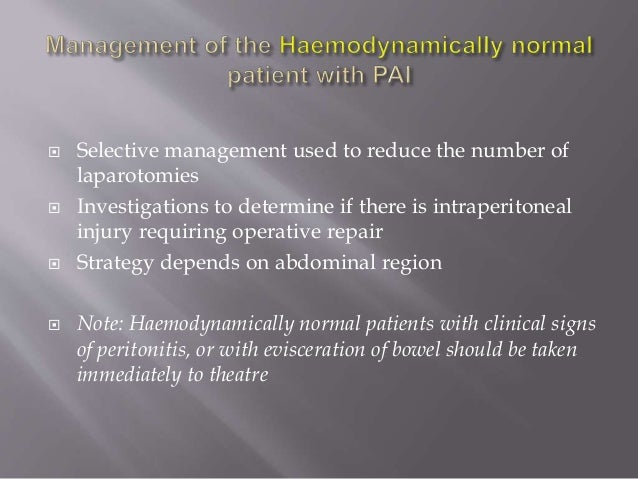 Penetrating Abdominal Trauma Emergency Management