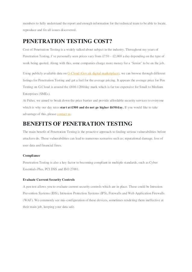 Penetration test pricing