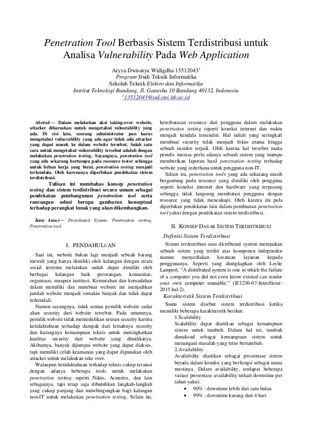 Penetration Tool Berbasis Sistem Terdistribusi untuk Analisa Vulnerability Pada Web Application Aryya Dwisatya Widigdha 13...