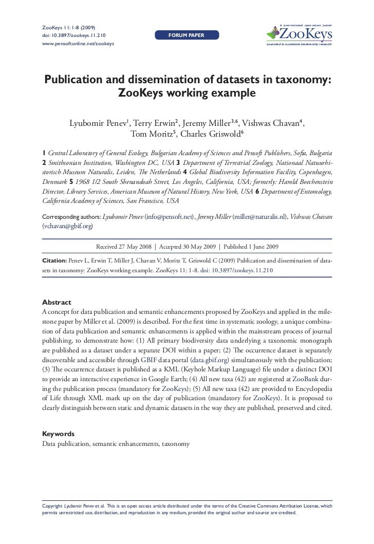 A peer-reviewed open-access journal ZooKeys 11: 1-8 (2009)                Publication and dissemination of datasets in tax...
