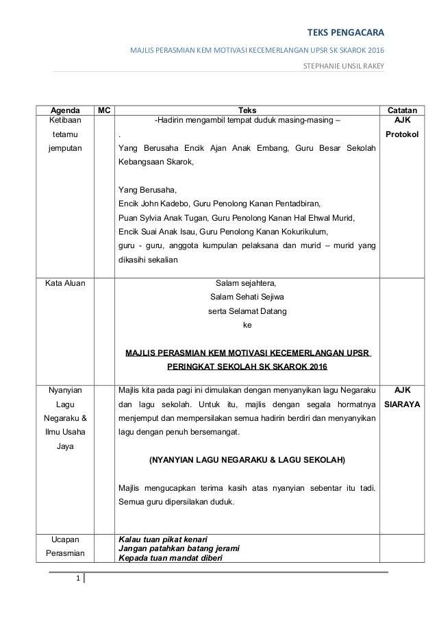 Teks Pengacara Majlis Perasmian Kem Motivasi T6 2016
