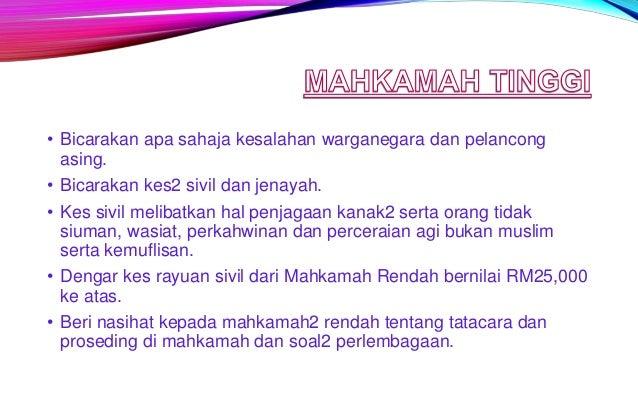 • Bicarakan kes2 sivil dan jenayah. • Dikendalikan oleh Penghulu sesuatu Mukim. • Kes sivil - tuntutan nilai RM50 ke bawah...