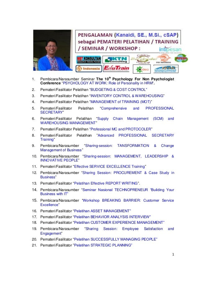 """1 1. Pembicara/Narasumber Seminar The 10th Psychology For Non Psychologist Conference """"PSYCHOLOGY AT WORK: Role of Persona..."""