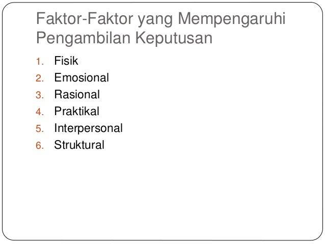 Faktor-Faktor yang Mempengaruhi Pengambilan Keputusan 1. Fisik 2. Emosional 3. Rasional 4. Praktikal 5. Interpersonal 6. S...