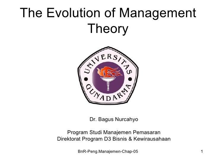 The Evolution of Management           Theory                  Dr. Bagus Nurcahyo         Program Studi Manajemen Pemasaran...