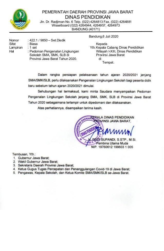 PEMERINTAH DAERAH PROVINSI JAWA BARAT DINAS PENDIDIKAN Jln. Dr. Radjiman No. 6 Telp. (022) 4264813 Fax. (022) 4264881 Wiss...