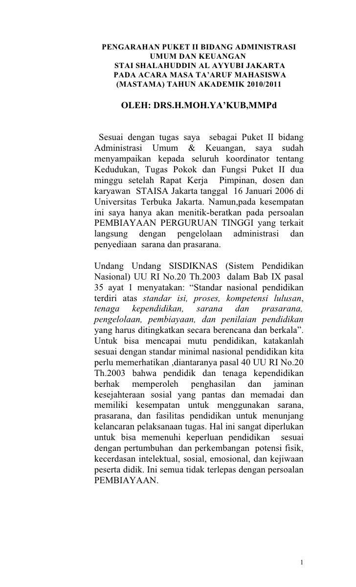 PENGARAHAN PUKET II BIDANG ADMINISTRASI           UMUM DAN KEUANGAN   STAI SHALAHUDDIN AL AYYUBI JAKARTA   PADA ACARA MASA...