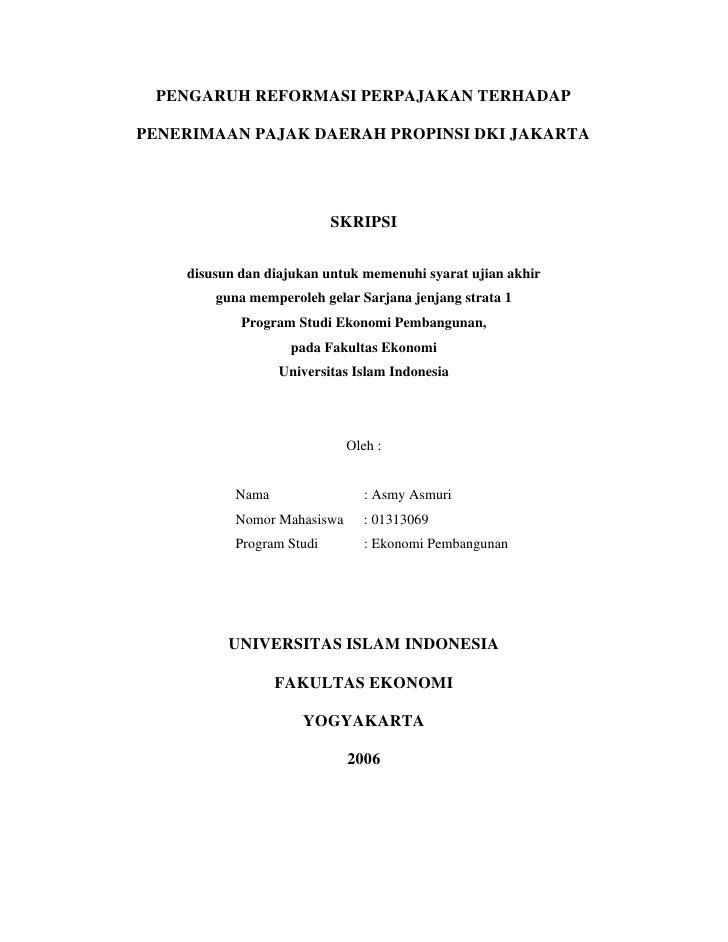 Pengaruh R Egormasi Pajak Thd Penerimaan Daerah Dki Jakarta
