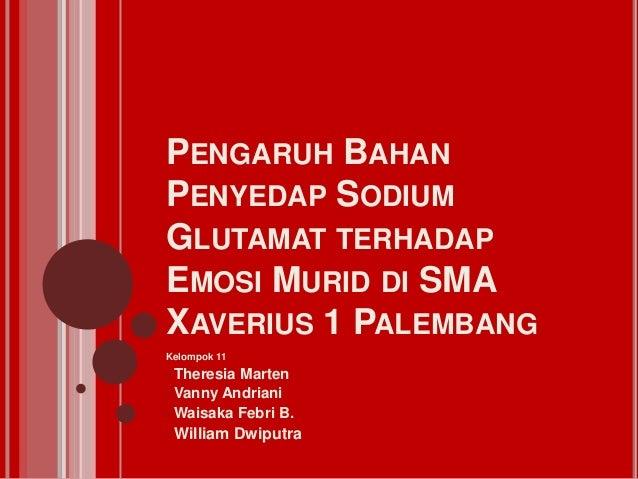 PENGARUH BAHANPENYEDAP SODIUMGLUTAMAT TERHADAPEMOSI MURID DI SMAXAVERIUS 1 PALEMBANGKelompok 11• Theresia Marten• Vanny An...