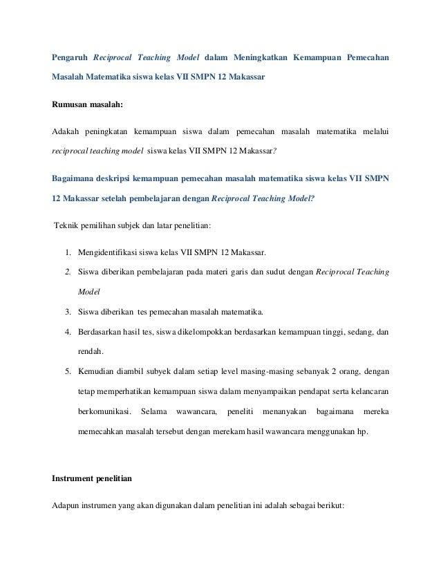 Pengaruh Reciprocal Teaching Model dalam Meningkatkan Kemampuan Pemecahan Masalah Matematika siswa kelas VII SMPN 12 Makas...