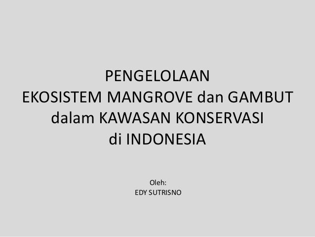 PENGELOLAANEKOSISTEM MANGROVE dan GAMBUTdalam KAWASAN KONSERVASIdi INDONESIAOleh:EDY SUTRISNO