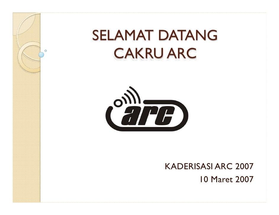 SELAMAT DATANG    CAKRU ARC             KADERISASI ARC 2007                10 Maret 2007