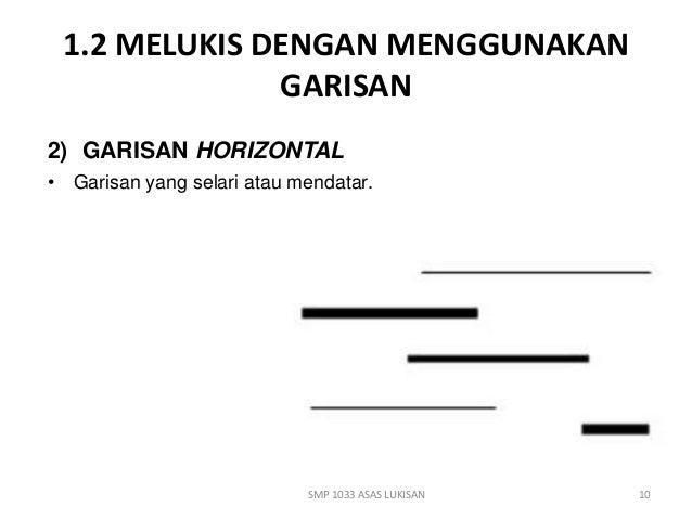 1.2 MELUKIS DENGAN MENGGUNAKAN  GARISAN  2) GARISAN HORIZONTAL  • Garisan yang selari atau mendatar.  SMP 1033 ASAS LUKISA...