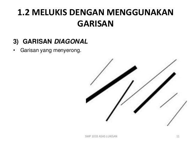 1.2 MELUKIS DENGAN MENGGUNAKAN  GARISAN  3) GARISAN DIAGONAL  • Garisan yang menyerong.  SMP 1033 ASAS LUKISAN  11
