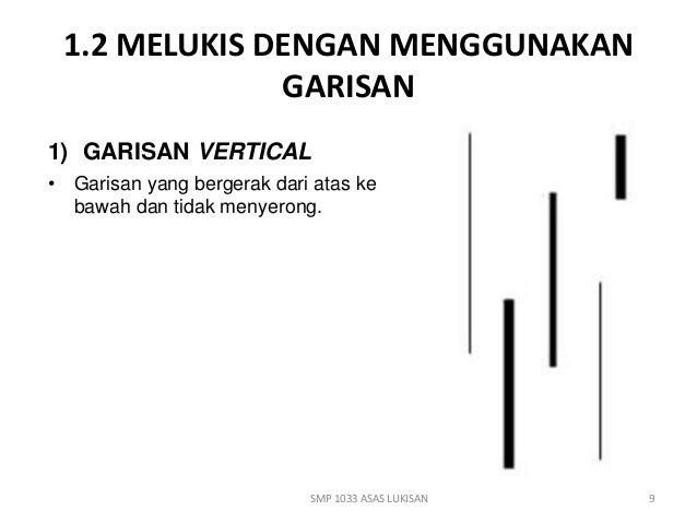 1.2 MELUKIS DENGAN MENGGUNAKAN  GARISAN  1) GARISAN VERTICAL  • Garisan yang bergerak dari atas ke  bawah dan tidak menyer...