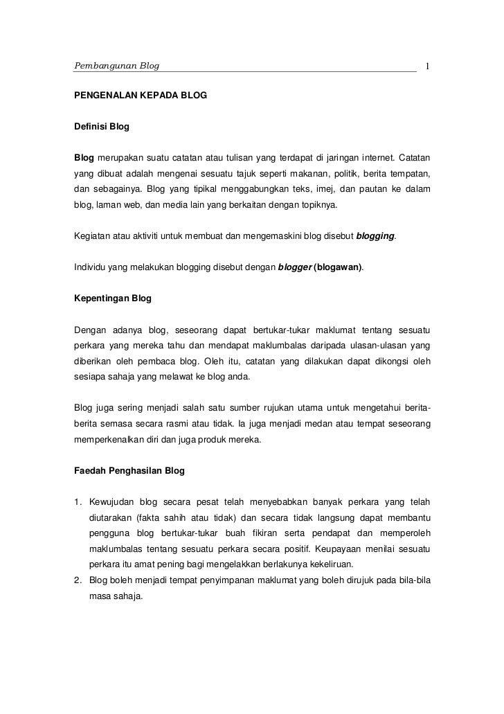 Pembangunan Blog                                                                   1PENGENALAN KEPADA BLOGDefinisi BlogBlo...