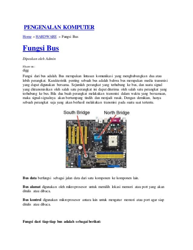 PENGENALAN KOMPUTER Home » HARDWARE » Fungsi Bus Fungsi Bus Diposkan oleh Admin Share on : digg Fungsi dari bus adalah. Bu...