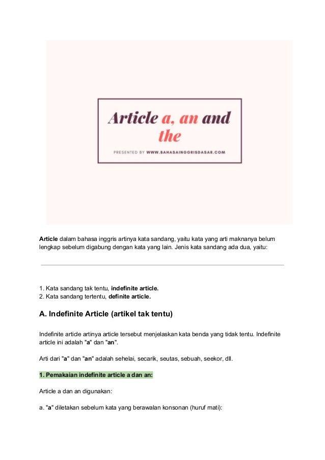 Pengertian Article A An And The Jenis Dan Contoh Kalimat Dalam Ba