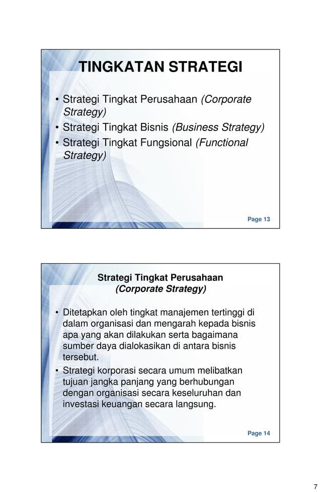 7 Page 13 TINGKATAN STRATEGI • Strategi Tingkat Perusahaan (Corporate Strategy) • Strategi Tingkat Bisnis (Business Strate...