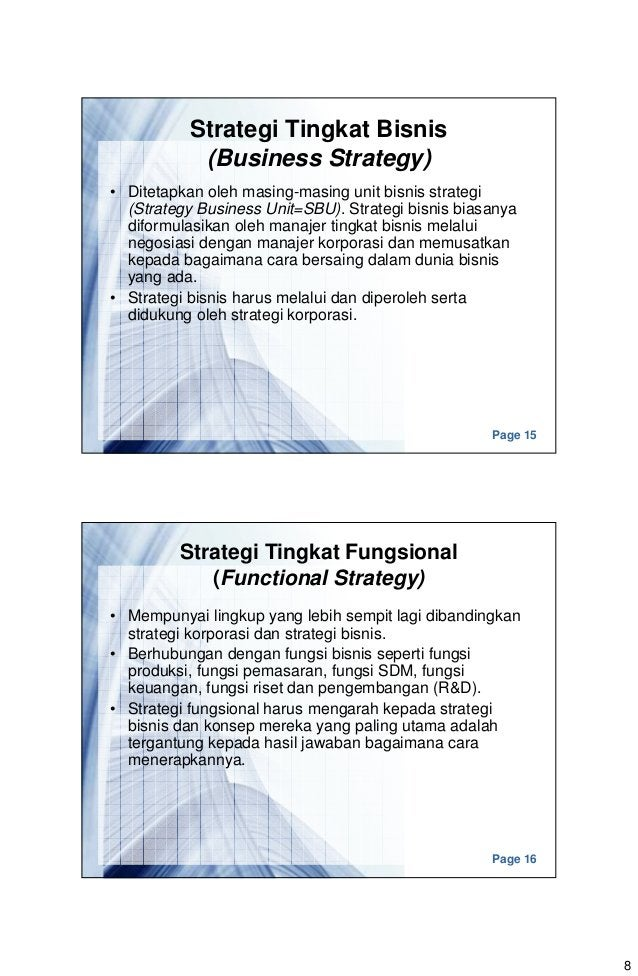 8 Page 15 Strategi Tingkat Bisnis (Business Strategy) • Ditetapkan oleh masing-masing unit bisnis strategi (Strategy Busin...