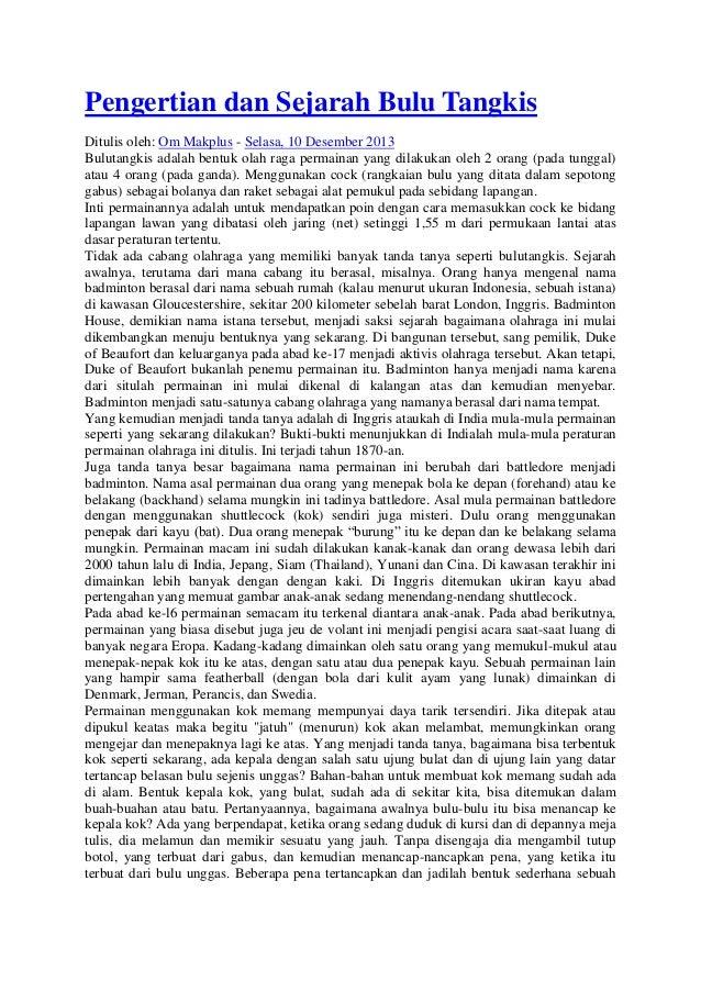 Pengertian dan sejarah bulu tangkis
